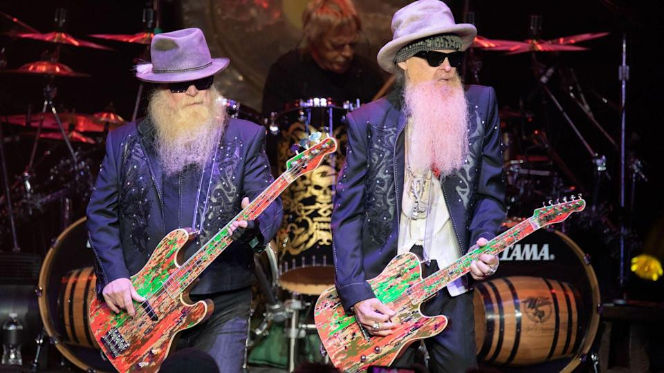 Mandatory Credit: Photo by Brandon Nagy/Shutterstock (10405941x)ZZ Top - Dusty Hill, Frank Beard, Billy Gibbons,ZZ Top in concert at Michigan Lottery Amphitheatre, Sterling Heights, USA - 08 Sep 2019.