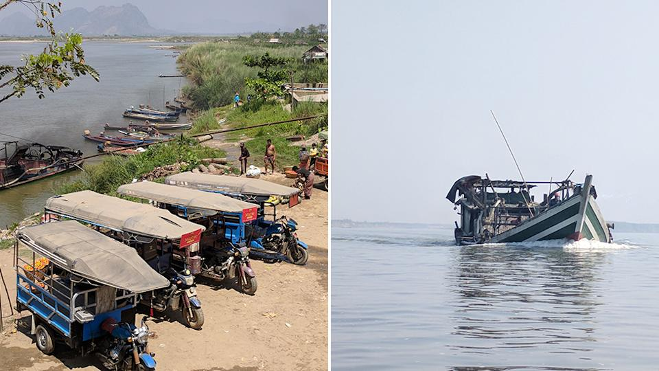 Picture of sand and gravel boats unloading on the Salween River in Myanmar (left), with motorbikes towing the load and a sand and gravel boat on the Salween River.