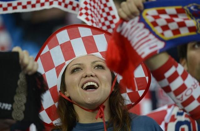 A fan of Croatia's national football team reacts prior to the Euro 2012 championships football match Republic of Ireland vs Croatia on June 10, 2012 at the Municipal Stadium in Poznan. AFPPHOTO/ ODD ANDERSENODD ANDERSEN/AFP/GettyImages