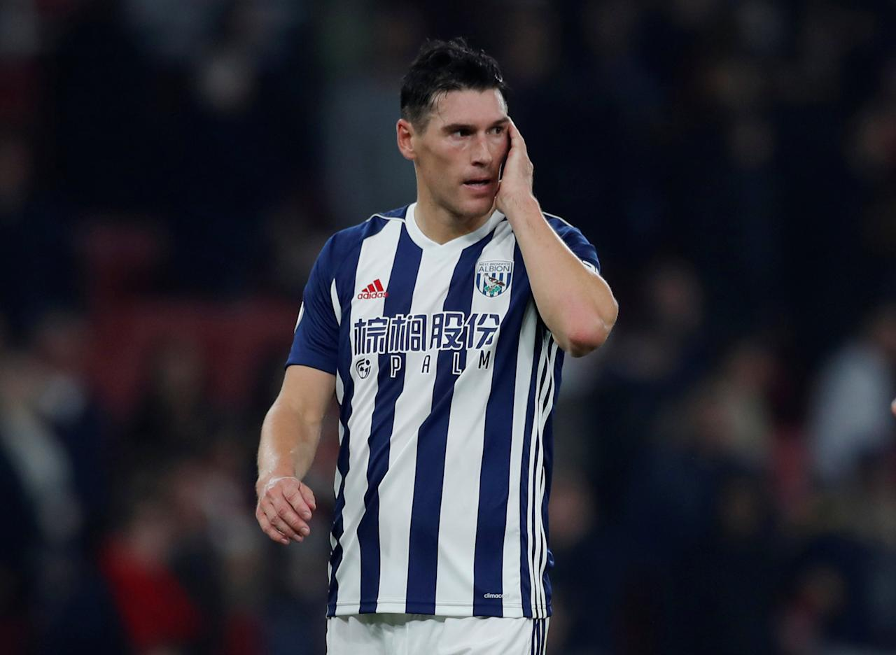 """Soccer Football - Premier League - Arsenal vs West Bromwich Albion - Emirates Stadium, London, Britain - September 25, 2017   West Bromwich Albion's Gareth Barry                 Action Images via Reuters/Andrew Couldridge    EDITORIAL USE ONLY. No use with unauthorized audio, video, data, fixture lists, club/league logos or """"live"""" services. Online in-match use limited to 75 images, no video emulation. No use in betting, games or single club/league/player publications. Please contact your account representative for further details."""