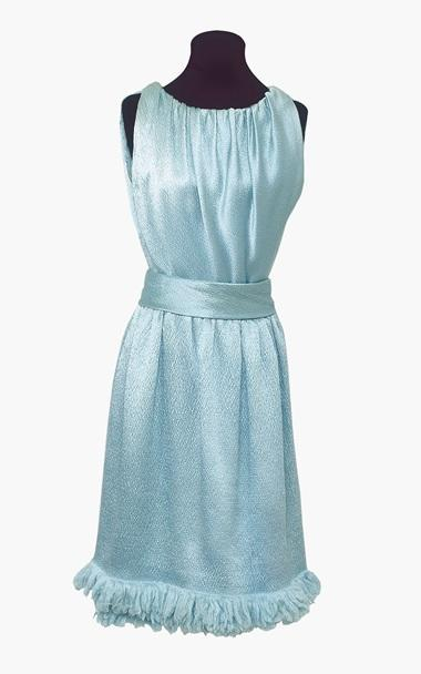 A blue satin Givenchy cocktail dress worn by Audrey Hepburn.
