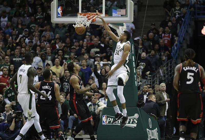 Giannis Antetokounmpo took his game to new heights this season. (AP)