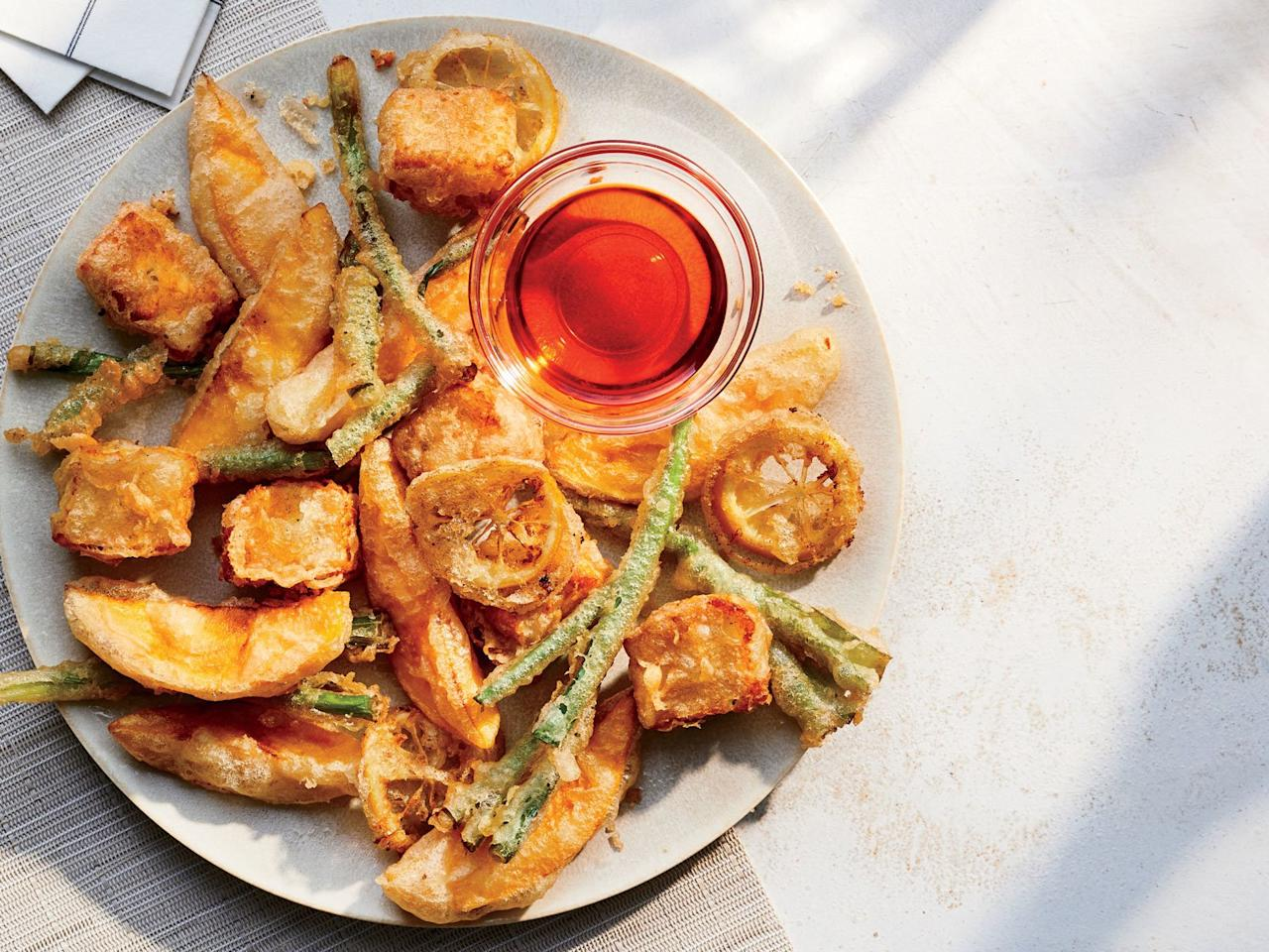 """<p>Fried. Cheese. Need we say more?</p> <p> <a href=""""https://www.foodandwine.com/recipes/mango-and-halloumi-fritto-misto"""">Get the recipe</a></p>"""