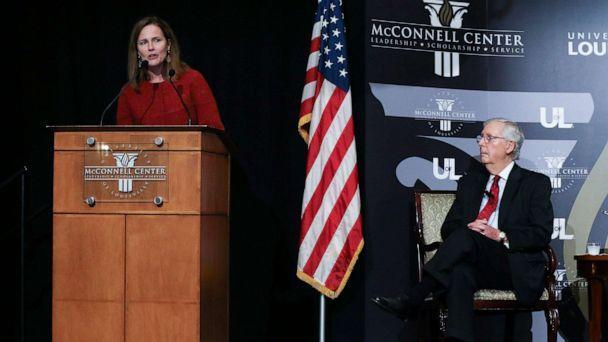 PHOTO: U.S. Supreme Court Associate Justice Amy Coney Barrett made remarks during a lecture at the McConnell Center held at the Seelbach Hotel in Louisville, Ky. on Sep. 12, 2021. (Sam Upshaw Jr./Courier Journal via Imagn via USA Today)