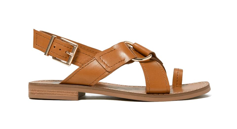 Leather Buckle Toe Loop Sandals