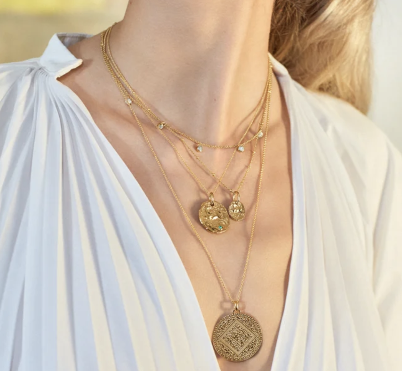 Gold Vermeil Siren Small and Large Coin Necklace Set. (PHOTO: Monica Vinader)