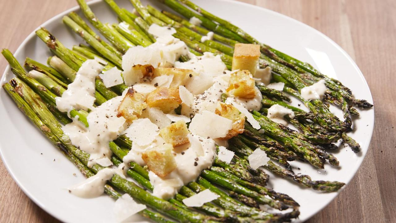 "<p>This is the least basic a salad has ever looked.</p><p>Get the recipe from <a href=""/cooking/recipe-ideas/recipes/a47194/caesar-grilled-asparagus-recipe/"" target=""_blank"">Delish</a>.</p>"