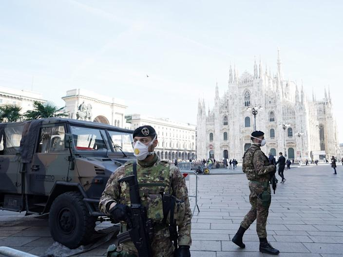An Italian soldier is wearing a fpp3 mask in Duomo Square on February 24, 2020 in Milan, Italy.