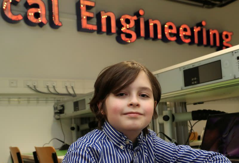 FILE PHOTO: Nine-year-old Belgian student Laurent Simons at the University of Technology in Eindhoven