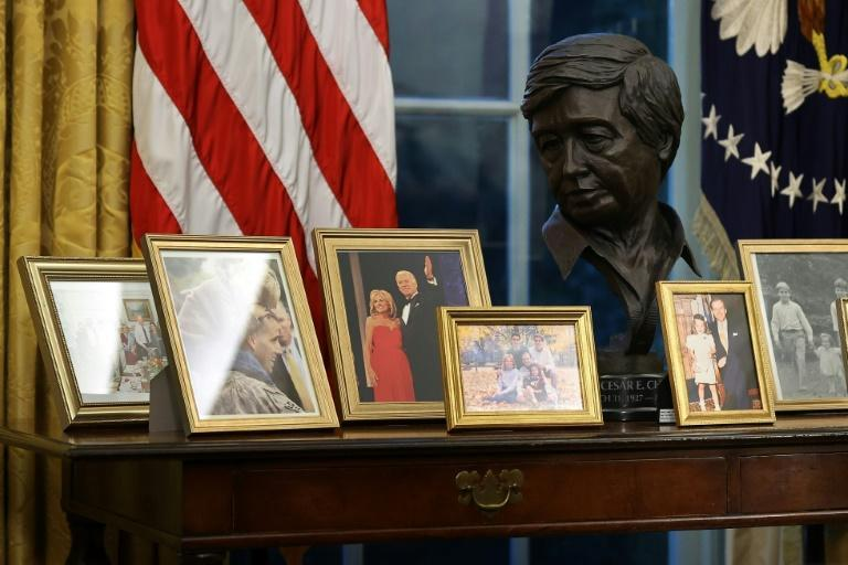 A bust of Cesar Chavez, founder of the National Farm Workers Association, is part of US President Joe Biden's Oval Office decorations at the White House in Washington