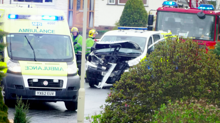 A police van was smashed into head on by the stole Land Rover (SWNS)