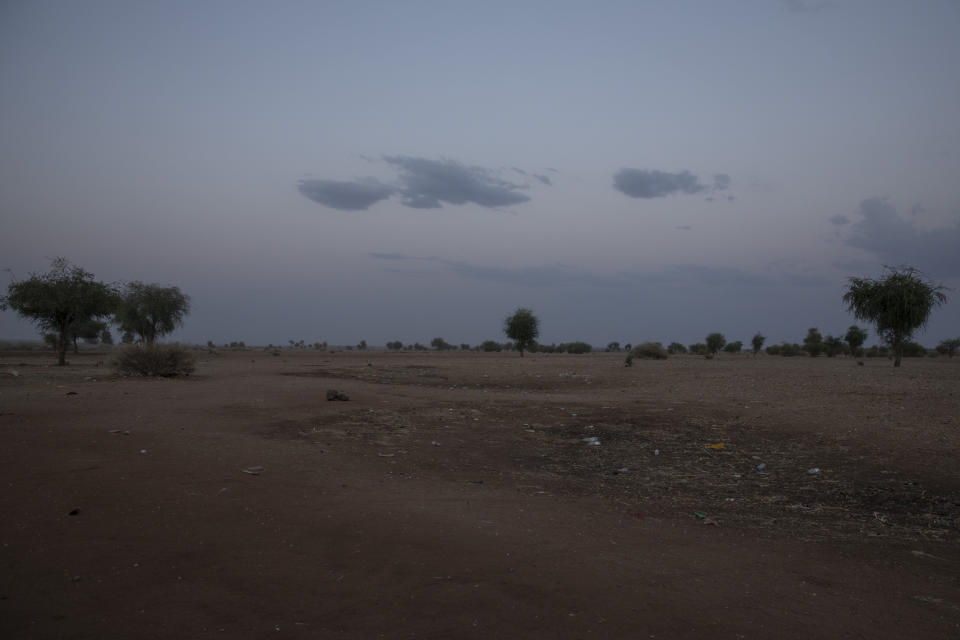 This March 23, 2021 photo shows the area at the Sudan-Ethiopia border. Battered and hungry, Tigrayans still arrive daily at the border post where Sudanese soldiers watch a no man's land. In Sudan, the Tigrayans are registered and asked for their ethnicity. For once, they are free to answer. (AP Photo/Nariman El-Mofty)