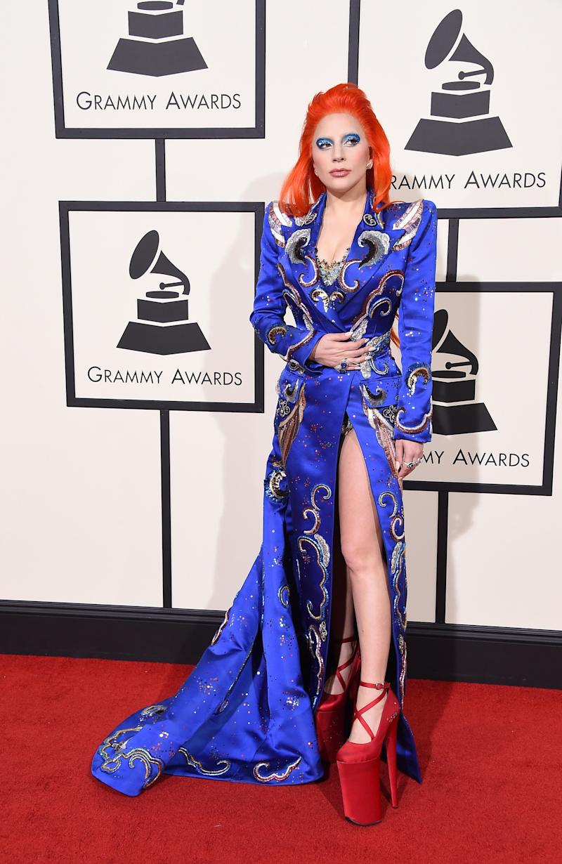 Full Bowie-glam in a custom Marc Jacobs look for the 58th Grammy Awards, where Gaga performed a tribute to the late performer.