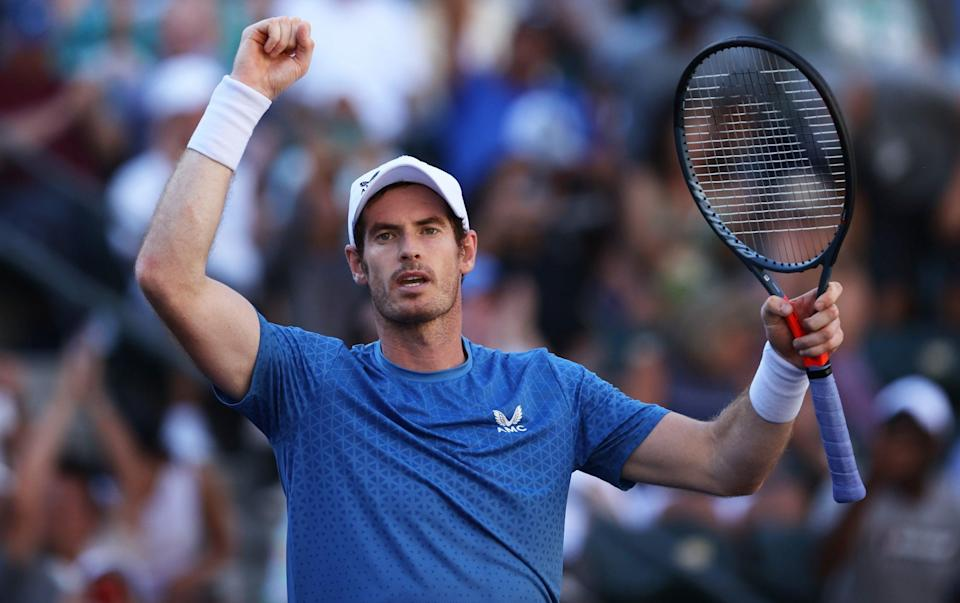 Andy Murray celebrates victory against Carlos Alcaraz - GETTY IMAGES