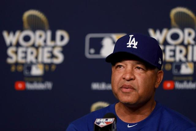 Manager Dave Roberts of the Los Angeles Dodgers answers questions from the media ahead of the World Series, at Dodger Stadium in Los Angeles, California, on October 23, 2017 (AFP Photo/Justin Heiman)
