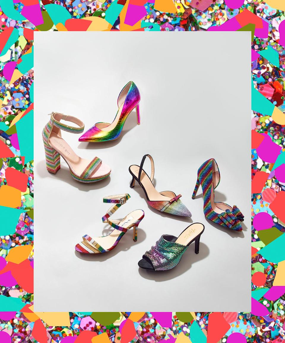 "A heel in an off-season magic-unicorn palette ensures that you won't get lost among the black sandals. <br> <br> <strong>Betsey Johnson</strong> Prince d'Orsay Evening Pumps, $, available at <a href=""https://www.macys.com/shop/product/betsey-johnson-prince-dorsay-evening-pumps?ID=2424836&CategoryID=71123&cm_kws=2424836"" rel=""nofollow noopener"" target=""_blank"" data-ylk=""slk:Macy's"" class=""link rapid-noclick-resp"">Macy's</a> <br> <br> <strong>Nina</strong> Vanna Sandals, $, available at <a href=""https://www.macys.com/shop/product/nina-vanna-sandals?ID=8548707&CategoryID=71123&cm_kws=8548707"" rel=""nofollow noopener"" target=""_blank"" data-ylk=""slk:Macy's"" class=""link rapid-noclick-resp"">Macy's</a> <br> <br> <strong>Thalia Sodi</strong> Roxxie Mules, $, available at <a href=""https://www.macys.com/shop/product/thalia-sodi-womens-roxxie-mules-created-for-macys?ID=10224876&CategoryID=169950&cm_kws=10224876"" rel=""nofollow noopener"" target=""_blank"" data-ylk=""slk:Macy's"" class=""link rapid-noclick-resp"">Macy's</a> <br> <br> <strong>INC International Concepts</strong> Kenjay d'Orsay Pumps, $, available at <a href=""https://www.macys.com/shop/product/inc-womens-kenjay-dorsay-pumps-created-for-macys?ID=2515365&CategoryID=71123&cm_kws=+2515365"" rel=""nofollow noopener"" target=""_blank"" data-ylk=""slk:Macy's"" class=""link rapid-noclick-resp"">Macy's</a>"