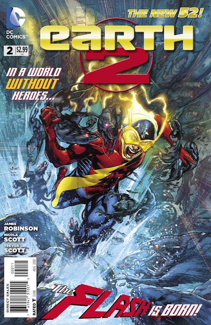 """This image provided by DC Entertainment shows the cover of the second issue of the company's """"Earth 2"""" comic book series featuring Alan Scott, the alter ego of its Green Lantern character, who is revealed to be gay. The reveal is the latest example of how comics publishers big and small are making their characters just as diverse as the people who read their books. The issue will be available on June 6, 2012 (AP Photo/DC Entertainment)"""