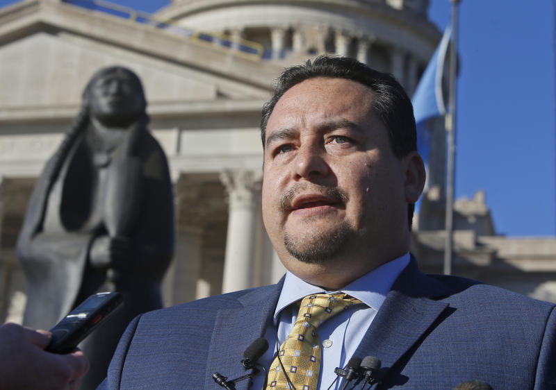 Matt Morgan, chairman of the Oklahoma Indian Gaming Association and a citizen of the Chickasaw Nation, speaks at a news conference concerning the renewal of Tribal Gaming Compacts, Thursday, Nov. 14, 2019, at the state Capitol in Oklahoma City. (AP Photo/Sue Ogrocki)