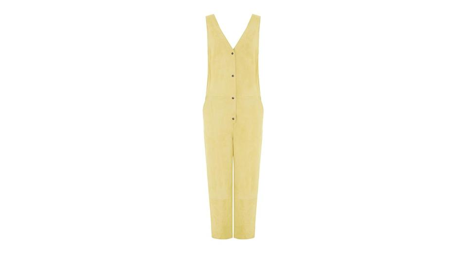 <p>You'll have to wait a little while to shop this fantastic, suede jumpsuit, but the wait will be worth it. </p>
