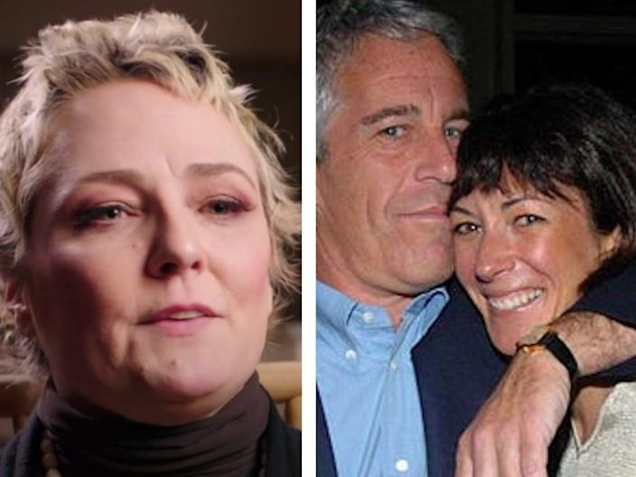collage with maria farmer on the left and ghislaine maxwell and jeffrey epstein on the right