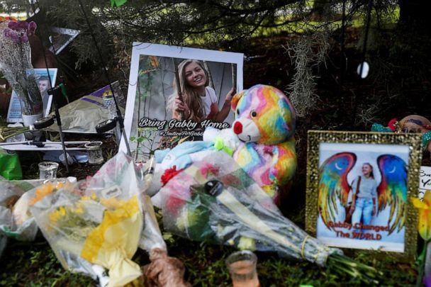 PHOTO: A makeshift memorial for Gabby Petito is seen, after a woman's body found in a Wyoming national park was identified as that of the missing 22-year-old travel blogger, near North Port City Hall in North Port, Florida, Sept. 22, 2021. (Shannon Stapleton/Reuters)