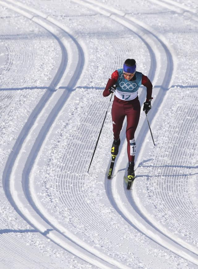 Cross-Country Skiing - Pyeongchang 2018 Winter Olympics - Women's 30km Mass Start Classic - Alpensia Cross-Country Skiing Centre - Pyeongchang, South Korea - February 25, 2018 - Anastasia Sedova, an Olympic athlete from Russia, competes. REUTERS/Carlos Barria