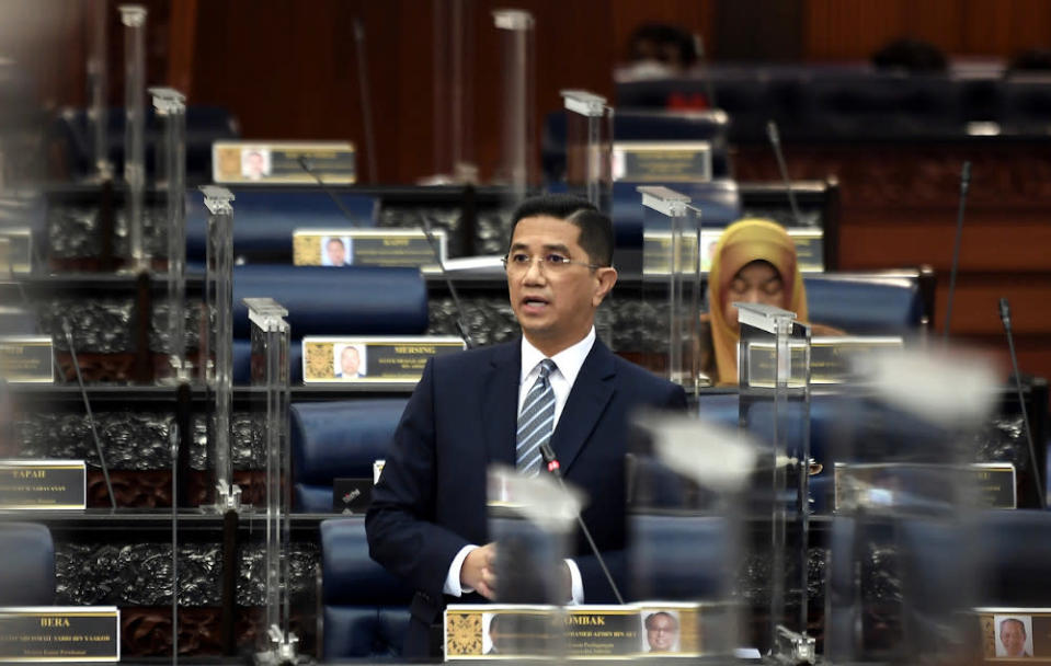Senior Minister and International Trade and Industry Minister Datuk Seri Mohamed Azmin Ali during an oral reply session in Parliament December 3, 2020. — Bernama pic