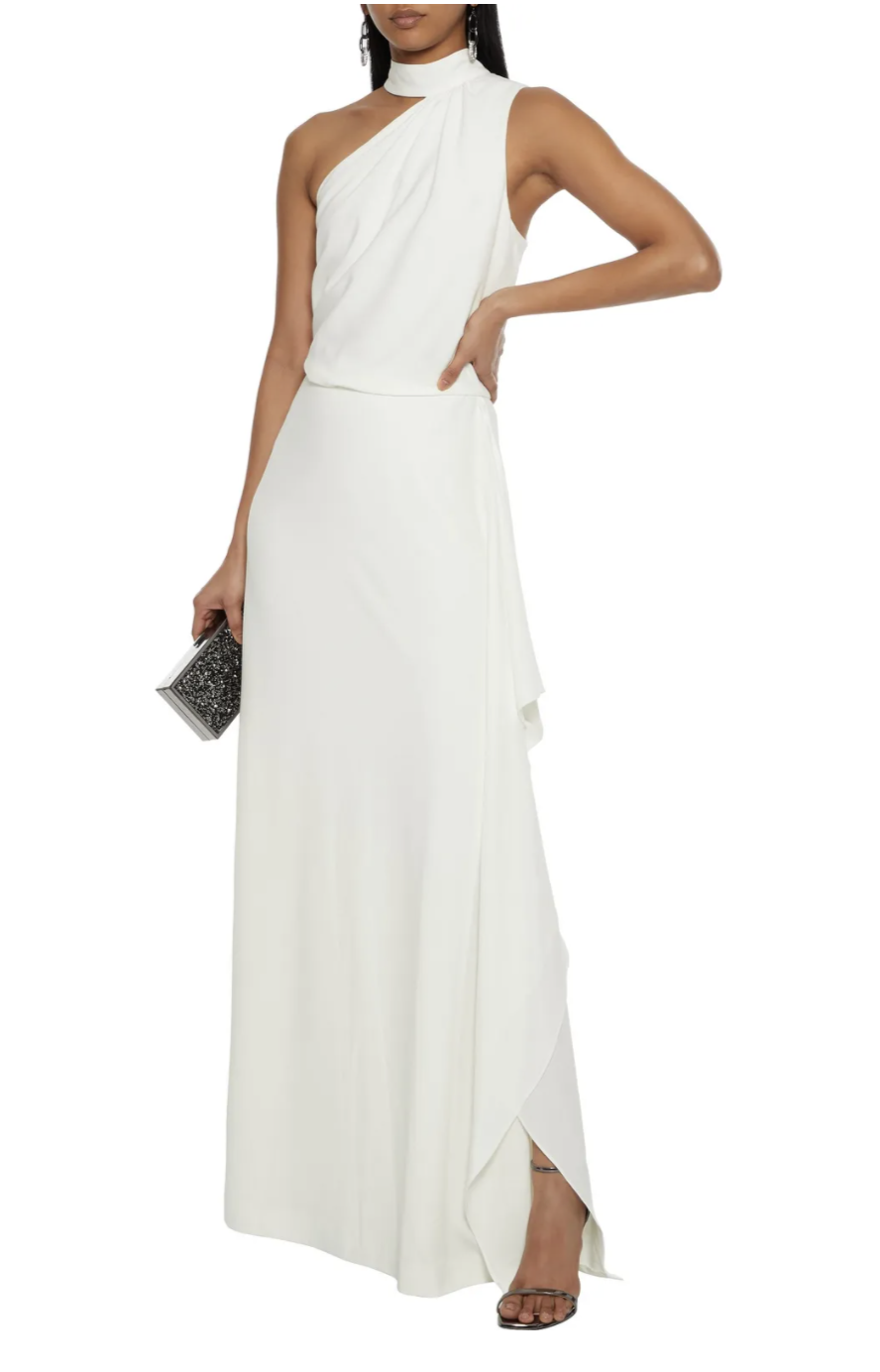Halston Lo One-Shoulder Draped Crepe Gown (Photo via The Outnet)