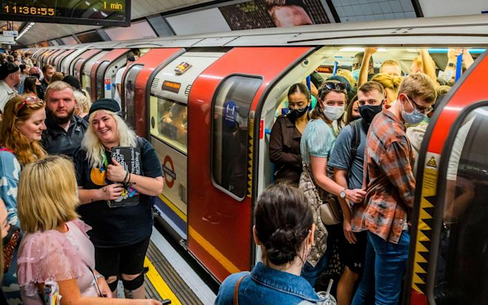The London Underground has been filling up this weekend as new Health Secretary Sajid Javid says the priority is ending all lockdown restrictions as soon as possible - Guy Bell/Alamy Live News