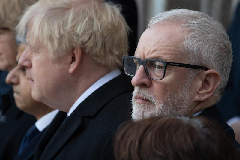 Prime Minister, Boris Johnson and Labour Leader, Jeremy Corbyn attend a vigil for victims Jack Merritt, 25, and Saskia Jones, 23 of the London Bridge attack. Source: Getty Images