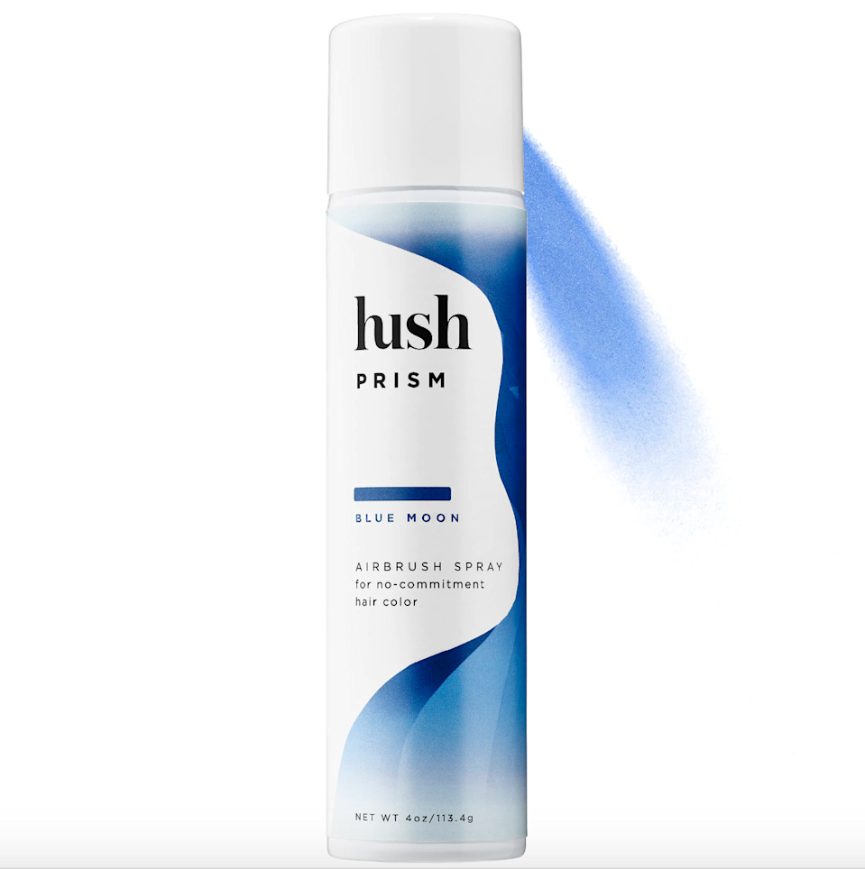"""<h3>Hush Prism Airbrush Spray <br></h3><br>Hush's rainbow of airbrush sprays (including red, teal, blue, purple, and silver) drapes hair in a veil of shimmery, buildable color without a crunchy feel.<br><br><strong>Hush</strong> Prism Airbrush Spray, $, available at <a href=""""https://go.skimresources.com/?id=30283X879131&url=https%3A%2F%2Fwww.sephora.com%2Fproduct%2Fprism-airbrush-spray-P429267%3FskuId%3D2045177"""" rel=""""nofollow noopener"""" target=""""_blank"""" data-ylk=""""slk:Sephora"""" class=""""link rapid-noclick-resp"""">Sephora</a>"""