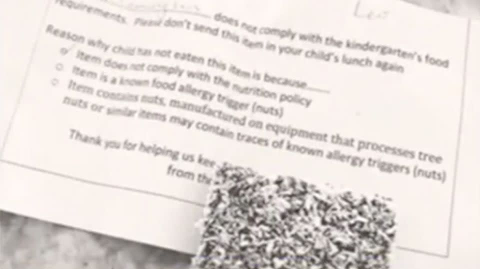 The lamington was returned to the mum along with a 'lunchbox reminder'. Source: 7 News