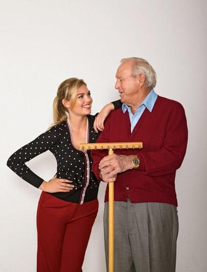 Palmer poses with supermodel Kate Upton for Golf Digest's December 2013 cover.