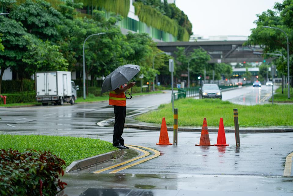 A security guard outside a shopping mall in Yishun. (PHOTO: Getty Images)