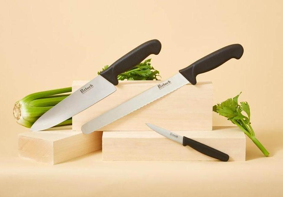 """<h2>Goldilocks (Formerly known as Potluck.)</h2><br><strong>Best For: </strong>Cookware bundles complete with knives and other accessories <br><strong>Product Range:</strong> Utensils, knives, pan sets, and other kitchen accessories<br><strong>Price Breakdown:</strong> $60 (compare to $115 industry standard)<br><br>Potluck is able to offer high-quality kitchen essentials through its direct-to-consumer approach and thoughtful consumer-feedback consideration — offering up everything from value-packaged cookware to knife and utensil sets crafted by factory partners with """"decades of experience making kitchenware for top brands."""" <br><br><em>Shop <strong><a href=""""https://cookpotluck.com/"""" rel=""""nofollow noopener"""" target=""""_blank"""" data-ylk=""""slk:Goldilocks"""" class=""""link rapid-noclick-resp"""">Goldilocks</a></strong></em><br><br><strong>Potluck</strong> Knife Set, 3-Piece, $, available at <a href=""""https://go.skimresources.com/?id=30283X879131&url=https%3A%2F%2Fcookpotluck.com%2Fproducts%2Fknife-set"""" rel=""""nofollow noopener"""" target=""""_blank"""" data-ylk=""""slk:Potluck"""" class=""""link rapid-noclick-resp"""">Potluck</a>"""