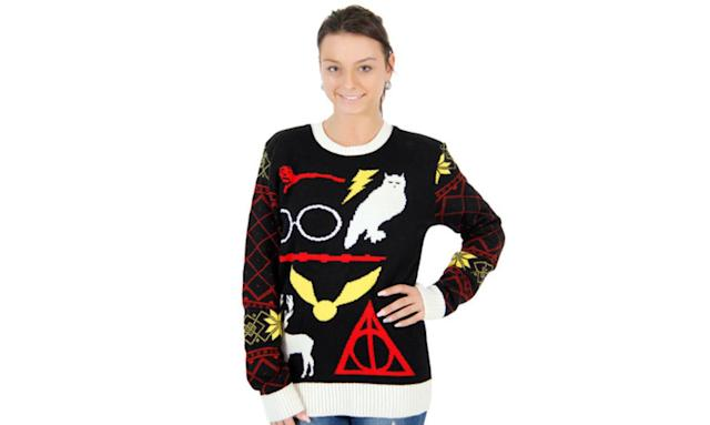 "<p>You don't need to be a Ravenclaw to figure out the Potter symbols on this Deathly Hallows Christmas top. <strong><a href=""https://www.tvstoreonline.com/shop-by-type/harry-potter-owl-deathly-hallows-sign-ugly-christmas-sweater/?gclid=CjwKEAiAkb-zBRC2upezwuyguQ4SJADZG08vX-l_YmNLNe-xaLRMakBmhaA-gO1Zlg3dbLfavXMKxBoCpB3w_wcB"" rel=""nofollow noopener"" target=""_blank"" data-ylk=""slk:Buy here"" class=""link rapid-noclick-resp"">Buy here</a></strong> </p>"