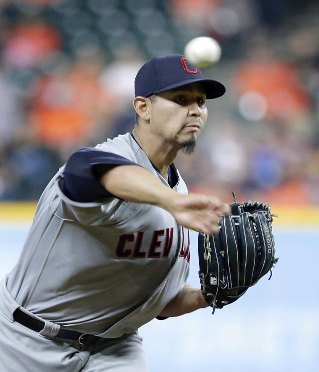 Cleveland Indians starting pitcher Carlos Carrasco (59) throws against the Houston Astros during the first inning of a baseball game Sunday, May 20, 2018, in Houston. (AP Photo/Michael Wyke)