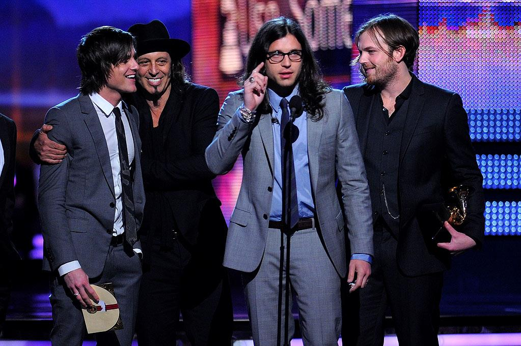 Kings of Leon receive an award at The 52nd Annual Grammy Awards held at Staples Center on January 31, 2010 in Los Angeles, California.