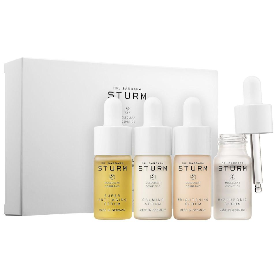 """<h2>Dr. Barbara Sturm Serum Discovery Set<br></h2><br>For the mom who doesn't skip a serum or facial appointment, order this luxe set. It comes with four potent formulas from Dr. Barbara Sturm to improve the overall health and appearance of the skin.<br><br><strong>Dr. Barbara Sturm</strong> Serum Discovery Set, $, available at <a href=""""https://go.skimresources.com/?id=30283X879131&url=https%3A%2F%2Fwww.sephora.com%2Fproduct%2Fdr-barbara-sturm-serum-discovery-set-P447786%3Ficid2%3Dproducts%2520grid%3Ap447786"""" rel=""""nofollow noopener"""" target=""""_blank"""" data-ylk=""""slk:Sephora"""" class=""""link rapid-noclick-resp"""">Sephora</a>"""