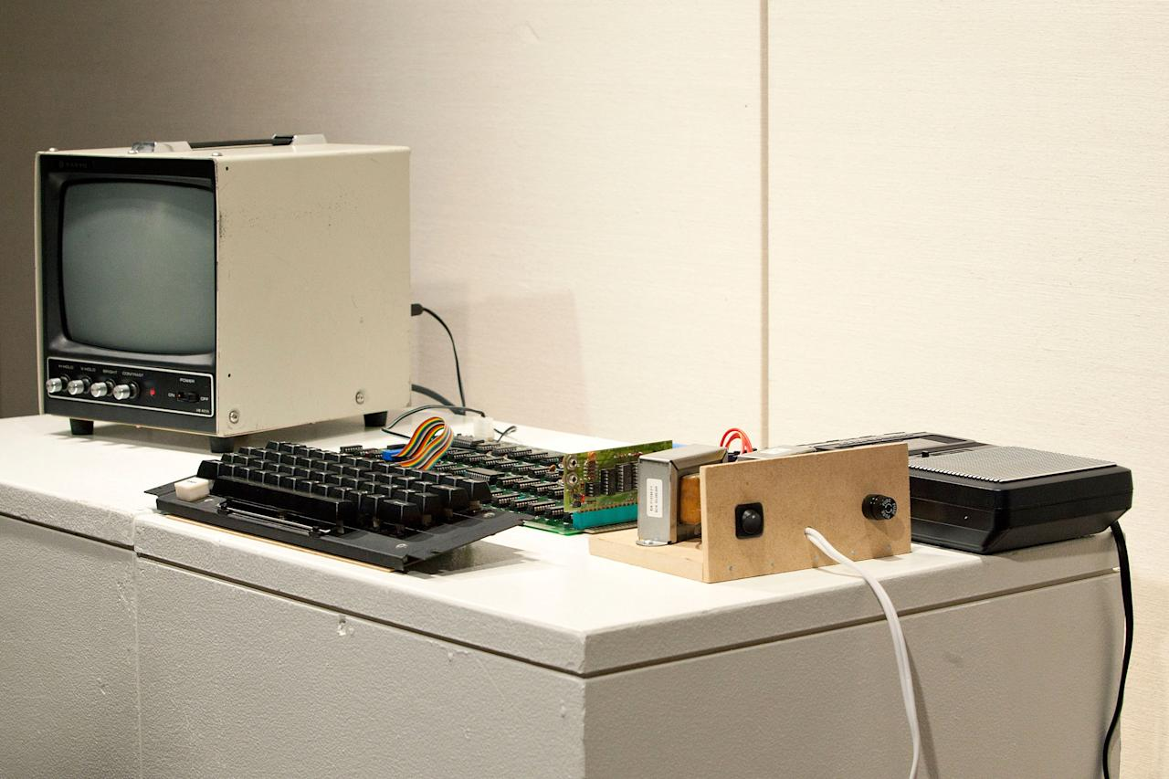 6, is seen on display at Sotheby's on June 8, 2012 in New York City. The computer was an integral component to the the personal computing revolution; it is set to be auctioned on June 15, 2012 and is expected to earn between $120,000 and $180,000. When originally sold, the monitor, keyboard and cassette interface were sold separately. It is believed less than 50 of the original Apple l are still in existence, with only six known to be in working condition. (Photo by Andrew Burton/Getty Images)
