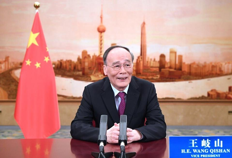 Vice-president Wang Qishan delivers a keynote remarks via video to the Bund Summit in Shanghai on October 24, 2020, emphasising the need for financial security. Photo: Xinhua