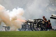 """<p>On special days like anniversaries and birthdays, <a href=""""https://www.royal.uk/gun-salutes"""" rel=""""nofollow noopener"""" target=""""_blank"""" data-ylk=""""slk:royal salutes"""" class=""""link rapid-noclick-resp"""">royal salutes</a> are fired from various locations across the U.K. In London, salutes are fired both from the Tower of London and either Hyde Park or Green Park, depending upon the occasion. The basic salute is 21 rounds, fired at 10-second intervals, but in Hyde Park an extra 20 shots are fired because it is a Royal Park. </p>"""