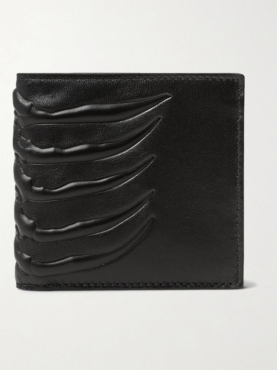 """<p><strong>Alexander McQueen</strong></p><p>mrporter.com</p><p><strong>$240.00</strong></p><p><a href=""""https://go.redirectingat.com?id=74968X1596630&url=https%3A%2F%2Fwww.mrporter.com%2Fen-us%2Fmens%2Fproduct%2Falexander-mcqueen%2Faccessories%2Fbillfold-wallets%2Fembossed-leather-billfold-wallet%2F666467151925278&sref=https%3A%2F%2Fwww.esquire.com%2Fstyle%2Fmens-accessories%2Fg35924710%2Fmens-luxury-wallets%2F"""" rel=""""nofollow noopener"""" target=""""_blank"""" data-ylk=""""slk:Shop Now"""" class=""""link rapid-noclick-resp"""">Shop Now</a></p><p>Does your current wallet have an embossed ribcage on it? No? <em>Why not??</em></p>"""