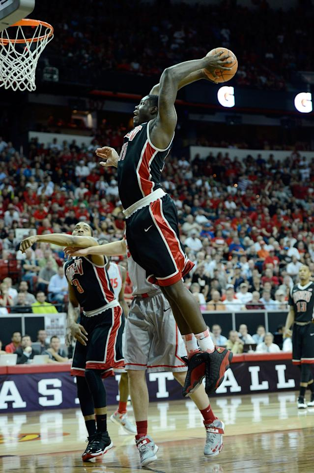 LAS VEGAS, NV - MARCH 16: Anthony Bennett #15 of the UNLV Rebels dunks against the New Mexico Lobos during the first half of the championship game of the Reese's Mountain West Conference Basketball tournament at the Thomas & Mack Center on March 16, 2013 in Las Vegas, Nevada.  (Photo by Jeff Bottari/Getty Images)