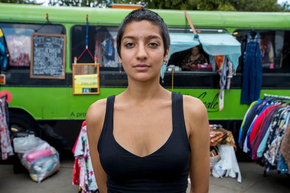 <strong>Saffiyah Khan in front of the Off The Scale vintage bus</strong> (Photo: JONATHAN HIPKISS/EXPOSURE PHOTOS)