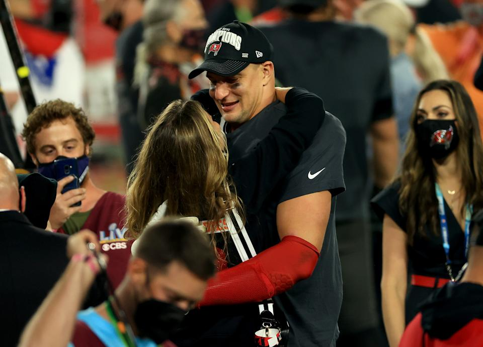 Rob Gronkowski of the Tampa Bay Buccaneers celebrates after defeating the Kansas City Chiefs in Super Bowl LV (Photo by Mike Ehrmann/Getty Images)