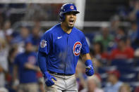 Chicago Cubs' Rafael Ortega celebrates his two-run home run during the fourth inning of a baseball game against the Washington Nationals, Saturday, July 31, 2021, in Washington. (AP Photo/Nick Wass)