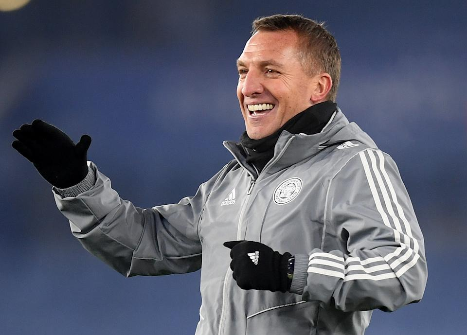 LEICESTER, ENGLAND - DECEMBER 04: Brendan Rodgers, Manager of Leicester City acknowledges the fans after the Premier League match between Leicester City and Watford FC at The King Power Stadium on December 04, 2019 in Leicester, United Kingdom. (Photo by Michael Regan/Getty Images)