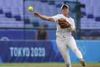 Mexico's Anissa Urtez throws to first base during a softball game against Canada at the 2020 Summer Olympics, Tuesday, July 27, 2021, in Yokohama, Japan (AP Photo/Sue Ogrocki)