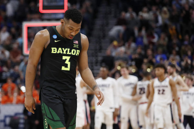 Baylor guard King McClure (3) walks off the court after the team's loss to Gonzaga in a second-round game in the NCAA men's college basketball tournament Saturday, March 23, 2019, in Salt Lake City. (AP Photo/Jeff Swinger)